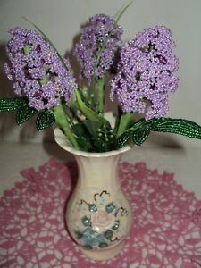VINTAGE HANDMADE GLASS BEADED FLOWERS Living room Home Décor + GIFT