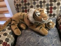 Russ Bengal Tiger Mama w Sleeping Baby Stuffed Plush Vintage 1995 Large RARE