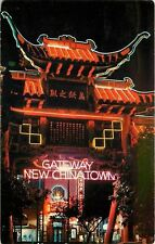 Los Angeles California~ Neon Lights @ Gateway~Chinatown at Night~1960s Postcard