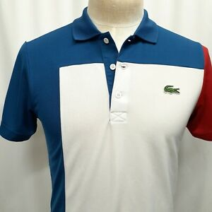 LACOSTE SPORT Size 3 Small Short Sleeve White Red Blue Polo Shirt Mens Polyester