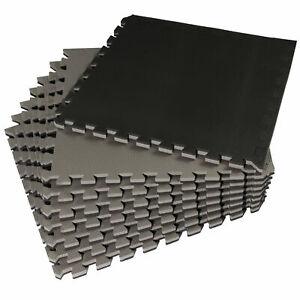 8x EVA-Bodenschutz Matte dick Schwarz-Grau 58x58x2cm Bodenmatte Puzzle Fitness