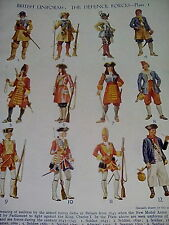 British Uniforms 1675 - WWII The Defence Forces 4 Small Double Pages 1950's