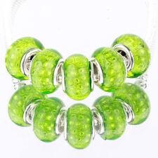 Bling plaid Grass green 5pcs MURANO bead LAMPWORK fit European Charm Bracelet