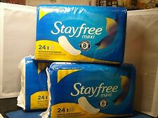 Stayfree maxi  24 ct  3 packs Regular With DEODORANT  72ct total.