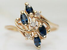 Vintage 14K Gold .25 Ct Sapphire & Diamond Cocktail Ring Size 4 3/4