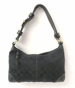 Coach11431 Signature Black Canvas Slim Shoulder Bag Purse