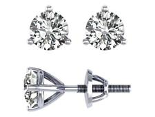 Martini Set Solitaire Stud Earrings SI1 G 1.01 Ct Natural Diamond 14K White Gold