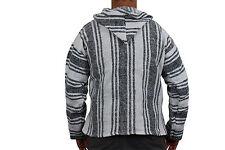 Mexican Baja Hoodie Surf Pullover Jacket White Unisex Size Large Drug Rug