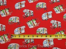 Happy Campers Travel Trailers Teardrop on Red BY YARDS Henry Glass Cotton Fabric