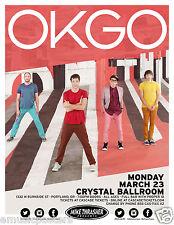 Okgo 2O15 Portland Concert Tour Poster - Alternative Rock / Power Pop Music