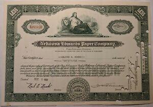 Nekoosa - Edwards Paper Company 25 Share Stock Certificate 1961