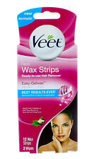 VEET FACE WAX STRIPS READY-TO-USE HAIR REMOVER 12 WAX STRIPS, 2 WIPES 04/2020