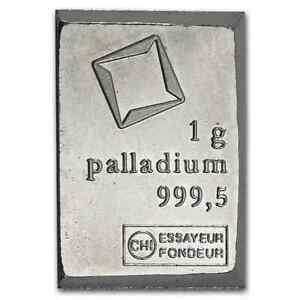 1 Gram Palladium Bar - Valcambi Suisse Lot A2