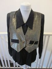 80s 90s fancy dress gold glitter waistcoat vintage blouse 12 black shirt evening