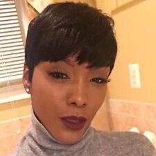 Brazilian Human hair Wig Short Straight Black Pixie Cut No Lace Full Hair Wig