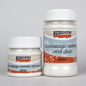Pentart Decoupage varnish & glue - glitter - 50 or 100ml
