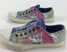 Womens Ed Hardy Purple Koi Fish And Flowers Canvas Slip On Shoes Size 6
