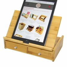 Bamboo Desktop iPad Tablet Stand Mount, Stationery Organiser