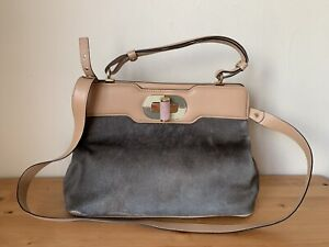 BVLGARI Handbag Isabella Rossellini Tan leather Calf-fur handbag