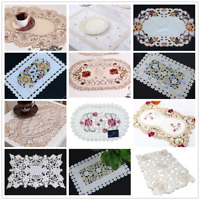 Vintage Embroidered Floral Placemat Dining Table Placemat Doily Cover 12x17inch
