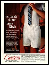 1961 Carter's Knit Boxer Shorts Man In Underwear Trying On Tie Vintage Print Ad