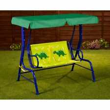 Per esterni giardino Patio In Metallo Sedia Swing Kids Dinosauro Amaca 2 posti Rosso