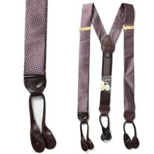 50-255-610 Men's 100% Silk Adjustable Burgundy Y-Back Suspender & Leather Tabs