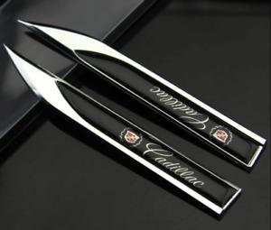 2pcs for Cadillac Black 3D Side Fender Emblem Badge Decal Sticker Logo