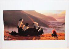 "Disney Lithograph Art Print 11""x14"" Brave Merida & Horse Angus in Field Glen"