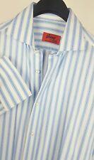 BRIONI Mens Bespoke Blue/White Striped LS French Cuff Dress Shirt 15.5-33 Reg
