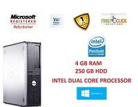 WINDOWS 10 DELL OPTIPLEX COMPUTER DESKTOP TOWER PC INTEL 4GB RAM 250 GB HDD WIFI