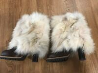 Dolce Gabbana brown leather coyote fur boots high heels women size 38 Made Italy