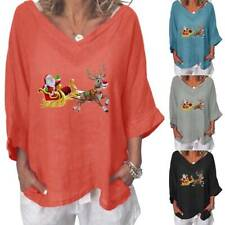 Christmas Womens Santa Claus Xmas T Shirt Baggy 3/4 Sleeve Blouse Tops Plus Size