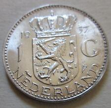 1957 Netherlands (WILHELMINA DUTCH) 1G ONE GULDEN SILVER COIN BETTER GRADE (W197