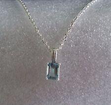 """NEW! Blue Topaz Emerald Cut Pendant 18"""" Sterling Silver 925 Fine Chain 83 PRETTY"""