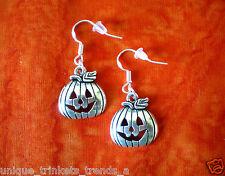 Pumpkin Dangle Earrings~Halloween Fall Autumn Gift Buy 3 Get 1 Free~Cute Silver
