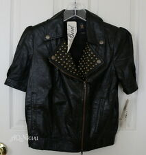 BIRD by JUICY COUTURE Black Leather Stud Cropped Motorcyle Jacket M/medium $998