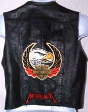 Vintage Bukman Leather Vest w/ Harley Davidson Patch, Iron Maiden+ Pins Mens 42