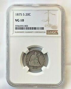 1875-S Seated Liberty 20c NGC VG 10