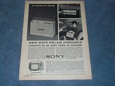 1963 Sony AM/FM Portable Radio and Mico TV Vintage Ad TFM-951 5-303W