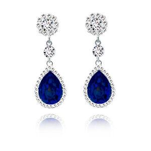 Long Fashion Royal Blue Ladies Earrings Silver Dangle Drop Shiny Women Studs