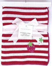 Manhattan Kids Luxurious Strawberry Stripe BABY BLANKET 100% Cotton - Great Gift