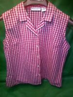 Montana Blues Button Front Sleeveless 100% Cotton Shirt Red Checked Women's Med.