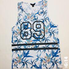 "Mens Cedar Wood State Floral Pattern White L Sports Vest Top P-P 18"" Length 26"""