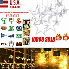 138LED Party Wedding Curtain Fairy Lights USB String Light Home w/12 Stars USA