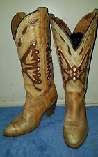 Vintage Miss Capezio Butterfly Western Cowboys Boots Shoes Marble Leather 5M