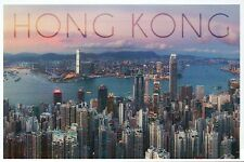 Hong Kong China, Aerial View of City & Harbor, Buildings, Sky -- Modern Postcard