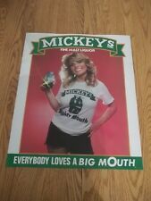VINTAGE 80s MICKEY'S MALT LIQUOR POSTER SEXY BLONDE EVERYBODY LOVES A BIG MOUTH