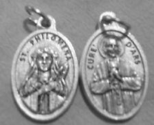 """Saint Philomena / Cure d'Ars Oxidized Medal (7/8"""" x5/8"""")"""