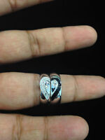 0.30 Cts F/VS1 Natural Diamond Couple Band Rings In Fine Hallmark 18K White Gold
